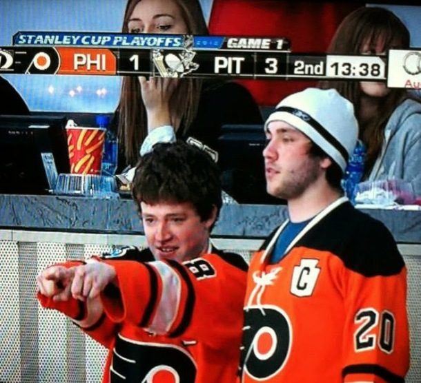During the 2012 Stanley Cup Eastern Conference Quarterfinals, I made it onto live coverage of the Flyers-Penguins game in Pittsburgh on Philadelphia's Comcast SportsNet affiliate. My friend Joe Doran (left) and I were some of the only people in orange for them to pick from when the Flyers scored their first goal of the game.