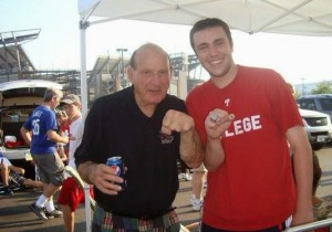 Former Flyers defenseman Larry Zeidel at a Phillies tailgate. Im wearing his 1952 Stanley Cup ring which he won as a member of the Detroit Red Wings.