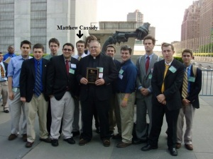 Members of the DeSales Oblate Schools team from Salesianum School that won the 2008 World High School Model United Nations title.