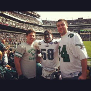 Here I am with my friend Shawn Smith (left) and Eagles superfan Shaun Young (Middle). He has become a legend in Section 128.