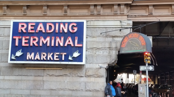 Exterior view of Reading Terminal Market, facing east at the intersection of Filbert St. and 12th St. (Photo Credit: Matt Cassidy)