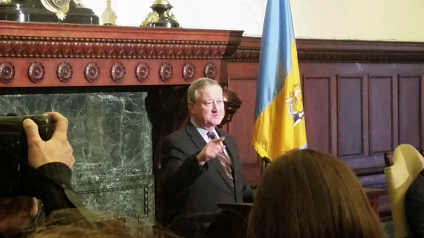 Former city councilman Jim Kenney addresses the media to announce his candidacy in the 2015 Philadelphia mayoral race. Photo Credit: Matt Cassidy