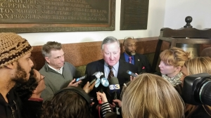 Jim Kenney answering questions from the press following his mayoral announcement. Photo Credit: Matt Cassidy