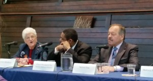 Better Mobility 2015 Mayoral Forum: Candidates for mayor of Philadelphia (from left to right) Lynne Abraham (D), Omar Woodard representing Sen. Anthony Williams (D), and Nelson Diaz (D). (Photo Credit: Matt Cassidy)