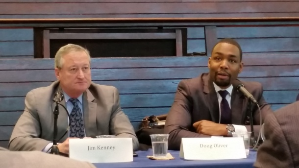 Better Mobility 2015 Mayoral Forum: Candidates for mayor of Philadelphia (from left to right) Jim Kenney (D) and Doug Oliver (D). (Photo Credit: Matt Cassidy)