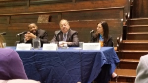 Better Mobility 2015 Mayoral Forum: Candidates for mayor of Philadelphia (from left to right) Omar Woodard representing Sen. Anthony Williams (D), Nelson Diaz (D), and Melissa Murray Bailey (R). (Photo Credit: Matt Cassidy)