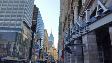 Center City: Facing west on Market St. towards City Hall and One Liberty Place. (Photo Credit: Matt Cassidy)