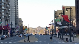 The Ben Franklin Parkway begins with the Art Museum in the distance. (Photo Credit: Matt Cassidy)