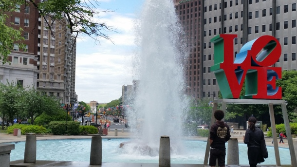 Robert Indiana's famous LOVE sculpture at JFK Plaza in center city Philadelphia. (Photo Credit: Matt Cassidy)