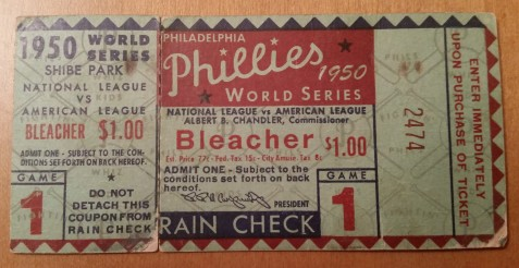 1950 World Series Game 1: New York Yankees at Philadelphia Phillies (Front). My grandfather gave me this ticket.