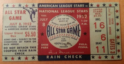 1952 MLB All-Star Game at Shibe Park in Philadelphia (Front). My grandfather gave me this ticket.