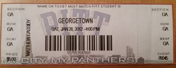 2012 Pittsburgh Panthers upset the #9 Georgetown Hoyas at the Peterson Events Center.