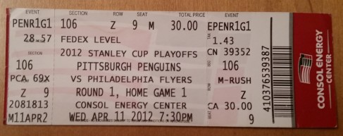 2012 Philadelphia Flyers at Pittsburgh Penguins in Stanley Cup Eastern Conference Quarterfinals Game 1: Flyers rally from being down 3-0 to win 4-3 in overtime. I waited in line all day for student tickets to the game. If you recall, this was one of the highest-scoring playoff series in recent memory. Through the first four games, the two teams combined for 45 goals which set a new record.