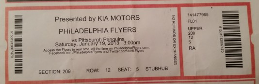 2013 PIttsburgh Penguins at Philadelphia Flyers: In the first game of the lockout-shortened season, the Flyers lost 3-1.