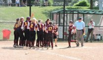 Avon Grove celebrates Allyson Wallauer's first inning home run. (Photo: Matt Cassidy)