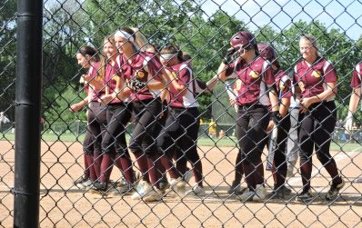 Avon Grove celebrate Allyson Wallauer's second home run of the game which was also her second of the 2016 season. (Photo: Matt Cassidy)