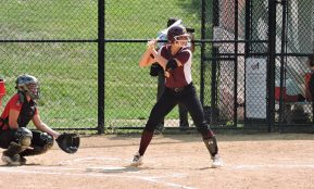Avon Grove's Maggie Balint ripped a double down the third base line in the first inning. (Photo: Matt Cassidy)
